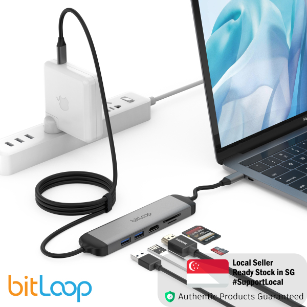 BitLoop USB C 5 Port Hub HDMI 4K port, Two USB 3.0 ports, SD/MicroSD card reader 1.8m Attached Fixed Cable Length With Charging Cable for MacOS, Windows, Android, iOS