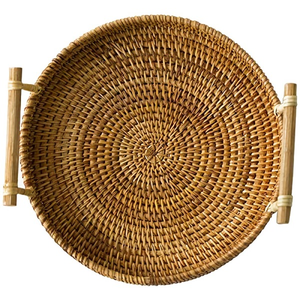 Rattan Bread Basket Round Woven Tea Tray With Handles For Serving Dinner Parties Coffee Breakfast (8.7 Inches)