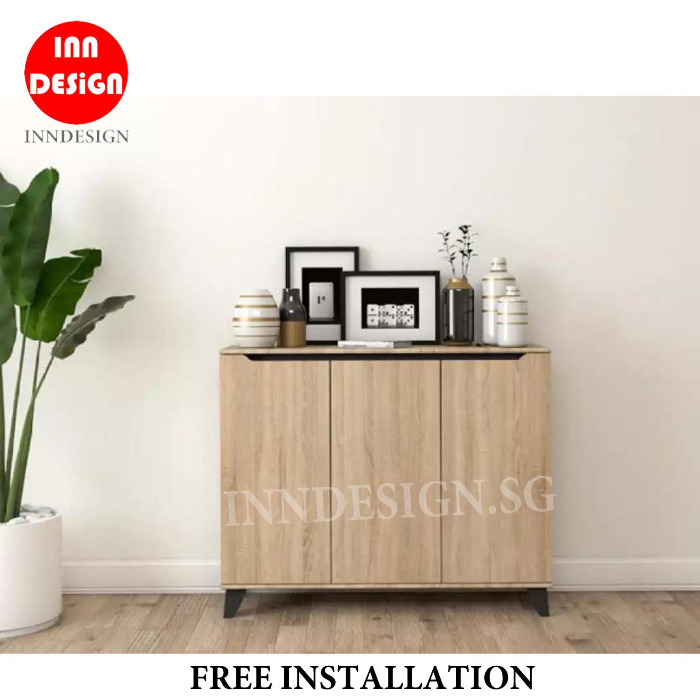 [New Arrival] [LOCAL SELLER] [6 MONTHS WARRANTY]  Ethen 3 Door Shoe Cabinet (Free Installation and Deliver Within 2 Days) (2 Colours)