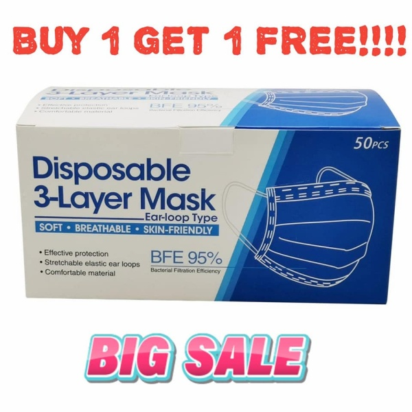 Buy READY STOCK 3-Layer Disposable Face Mask Singapore