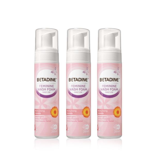 Buy Betadine Feminine Wash Foam Moisturising Calendula 200ml x3 Singapore