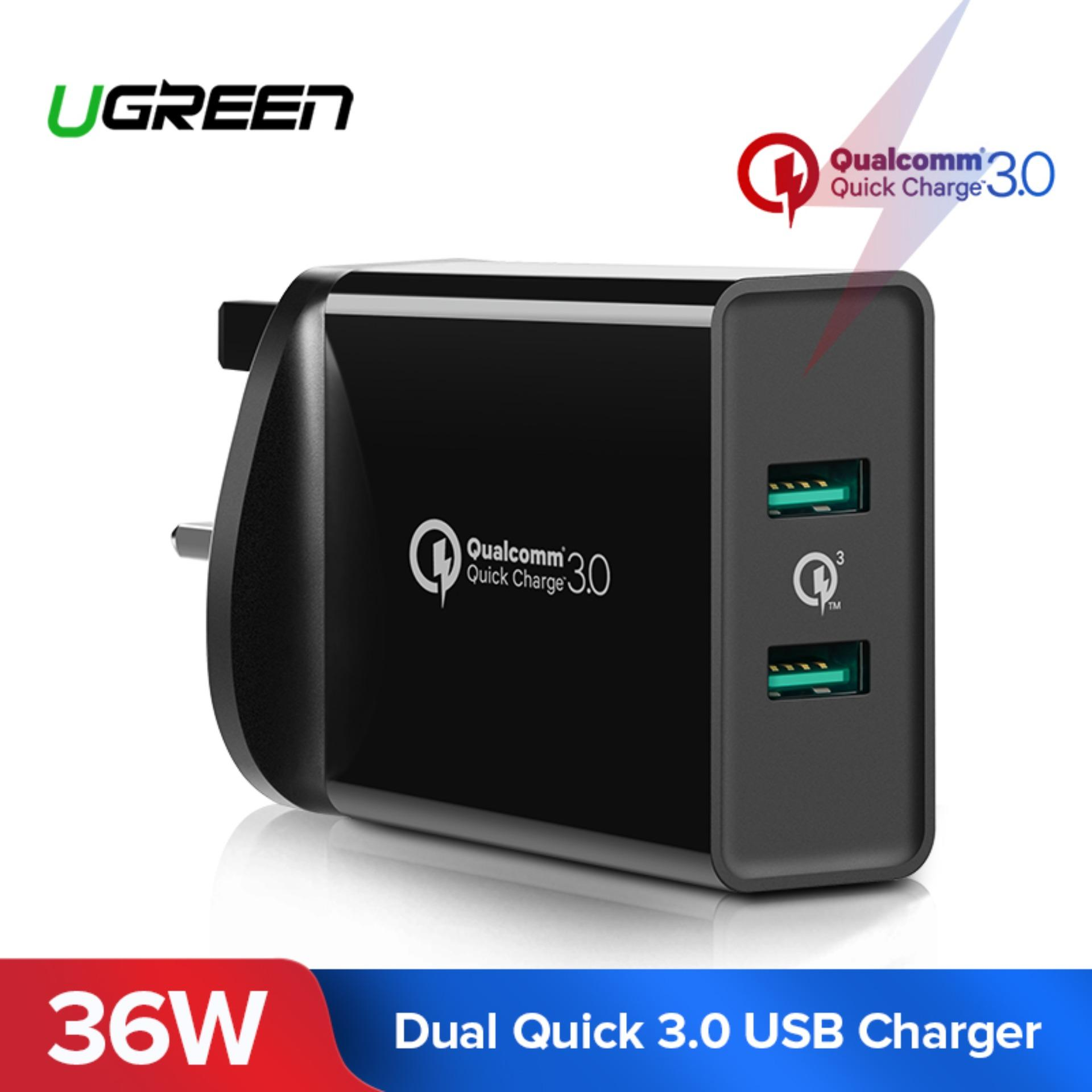 Ugreen Quick Charge 3.0 Usb Charger, 36w Dual Usb Port Qc 3.0 Wall Charger Adapter Fcp Usb Fast Charge For Iphone X 8, Ipad, Samsunggalaxy Note9, Huawei Mate 20,etc-Uk Plug By Ugreen Flagship Store.