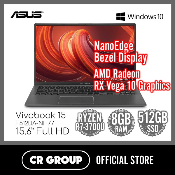 [Same Day Deliver] Asus Vivobook 15 F512DA-NH77 15 Inch Full HD | AMD Ryzen 7-3700U | 8 GB DDR4 SDRAM | 512 GB SSD | AMD Radeon RX Vega 10