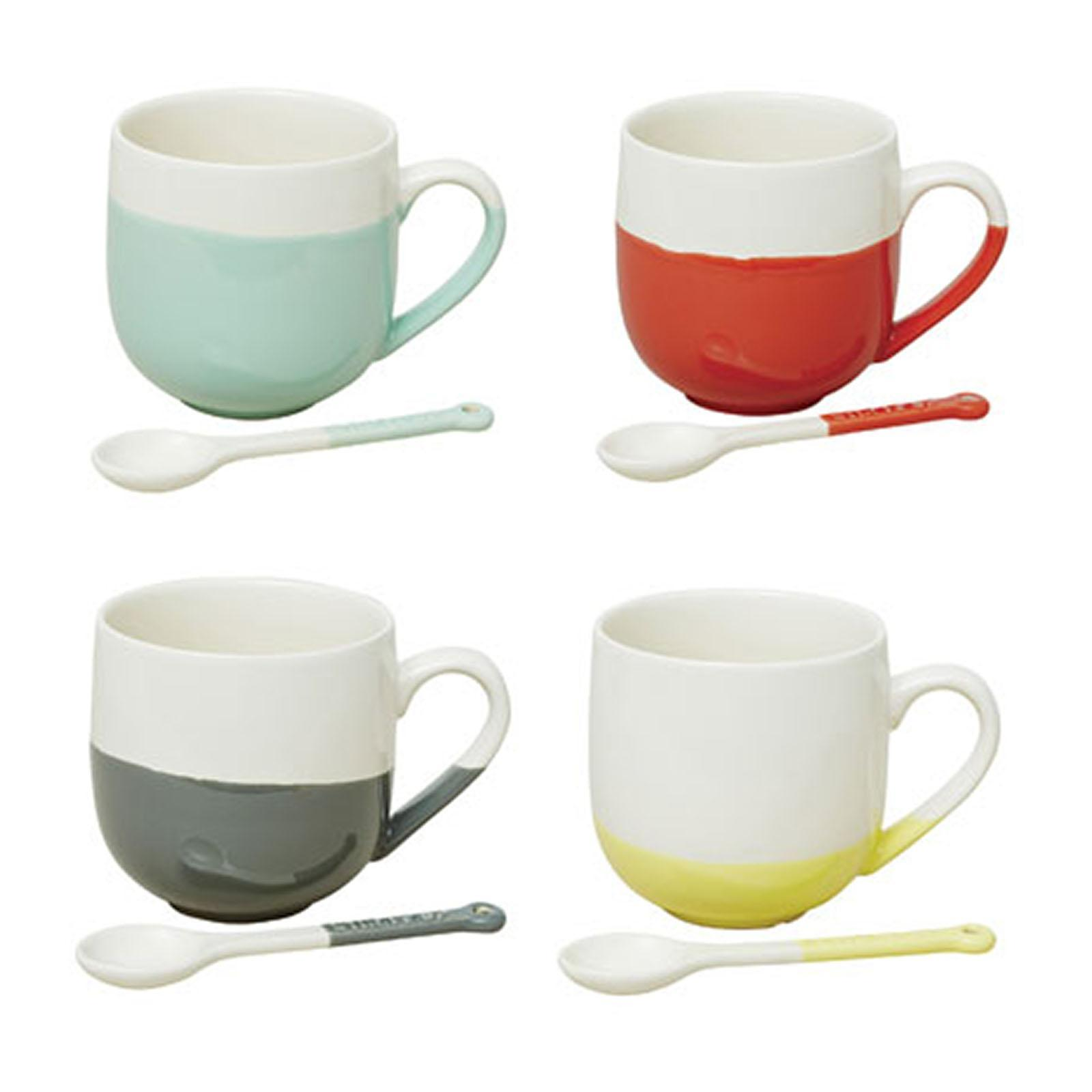 Jamie Oliver Colour-Dipped Mugs With Spoons - Set Of 4 - By ToTT