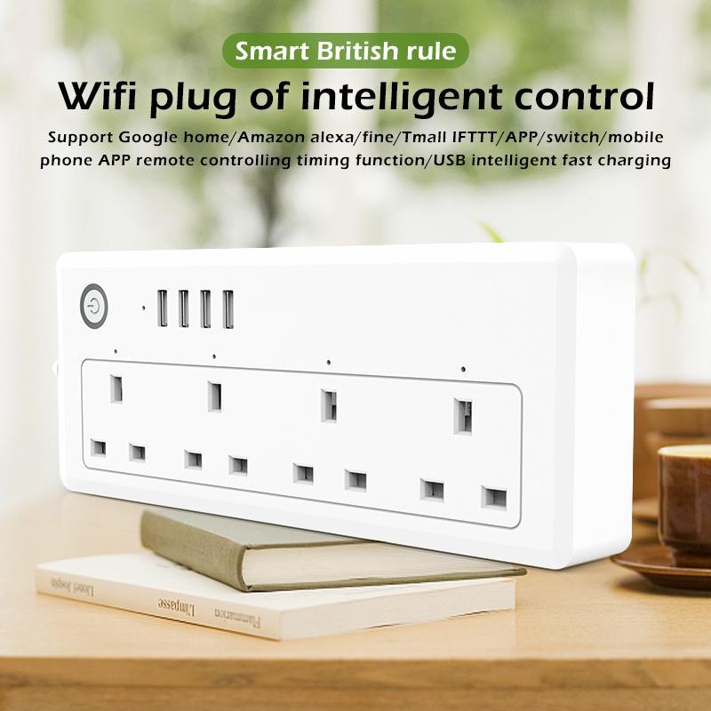 Laztech Wifi Thông Minh Dán Cường Lực Chống Sét Bảo Vệ Nhiều Ổ Cắm Điện 4 Cổng USB Điều Khiển Giọng Nói Cho Amazon Alexa Google Home và IFTTT US/EU/Phích Cắm UK