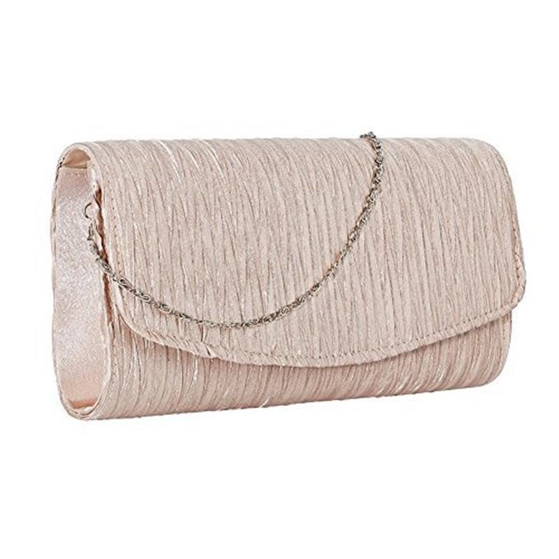 HOLILA Western style simple Clutch bag pleated woman purse wedding Bridal handbag Party bag shoulder bag #460
