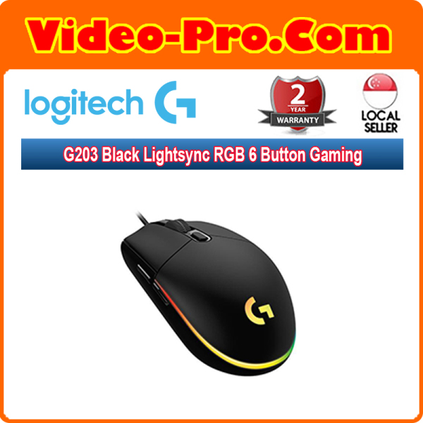 Logitech G203 Black Lightsync RGB 6 Button Gaming Mouse 910-005790 Singapore