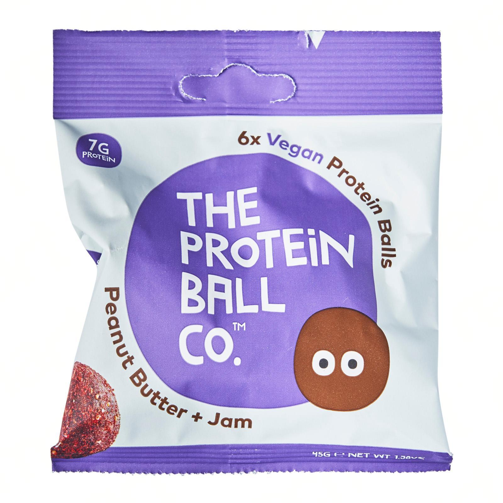 The Protein Ball Co All Natural Peanut Butter and Jam Vegan Protein Balls Snack