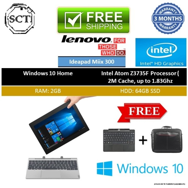 (Refurbished) Lenovo IdeaPad Miix 300 / Miix 310 2 in 1 10 inch tablet laptop pc - Free tablet keyboard - win10 / atom quad core cpu X5-Z8350 / 2gb ram / 64gb ssd hdd / touch-screen / Bluetooth / wifi / webcam - 3 month warranty - Free Delivery
