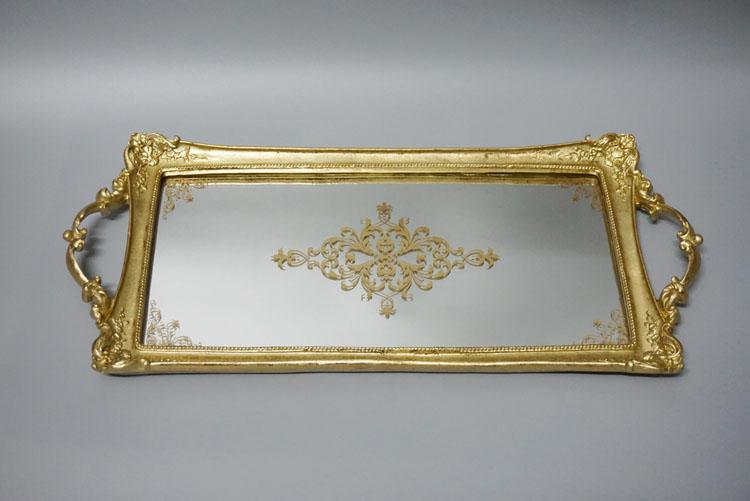 Export Europe France Complex Classical Large Size Rectangular Varved Mirror Tray Pale Gold Fruit Tea Dessert Decoration