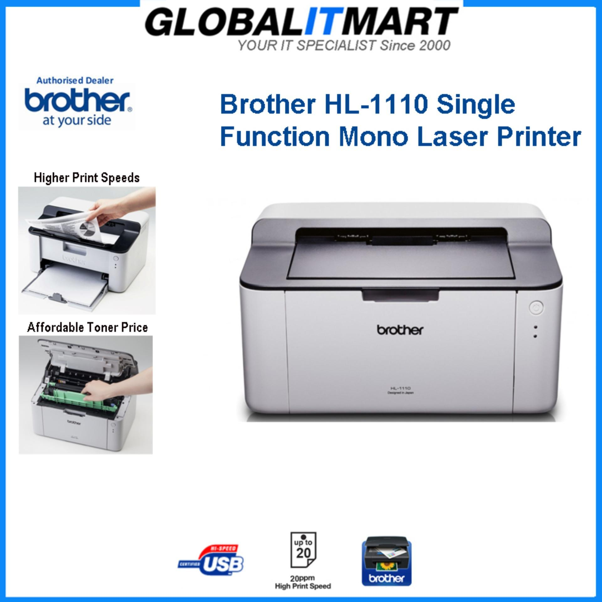 Splinternye Brother HL-1110 Single Function Mono Laser Printer (Local Brother GC-58