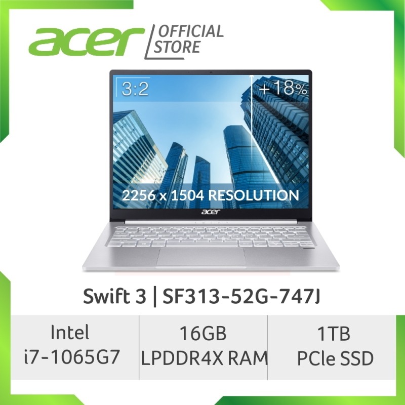 Acer NEW Swift 3 SF313-52G-747J 13.5 inch 2K (2256 x 1504) IPS Screen Project Athena Laptop with i7-1065G7 Processor and 16GB RAM