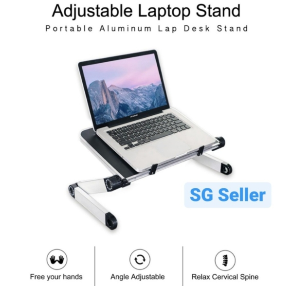 ⭐ SG 360 Degree Ergonomic Laptop Stand Lap Desk Table for Bed Book Stand Folding Height Adjustable