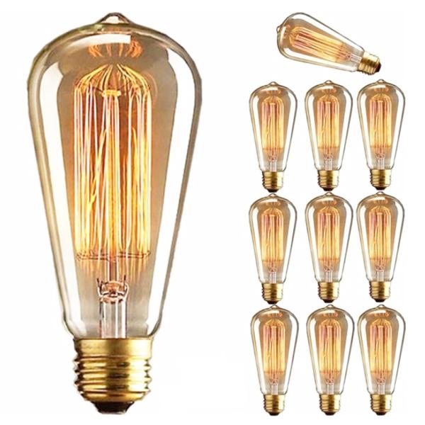 A5TG 1 PC 40W Sợi đốt cổ Đầu nối vít Trang trí Giá đỡ E27 Thủy tinh Dây tóc Bóng đèn cổ điển Retro Đèn Edison
