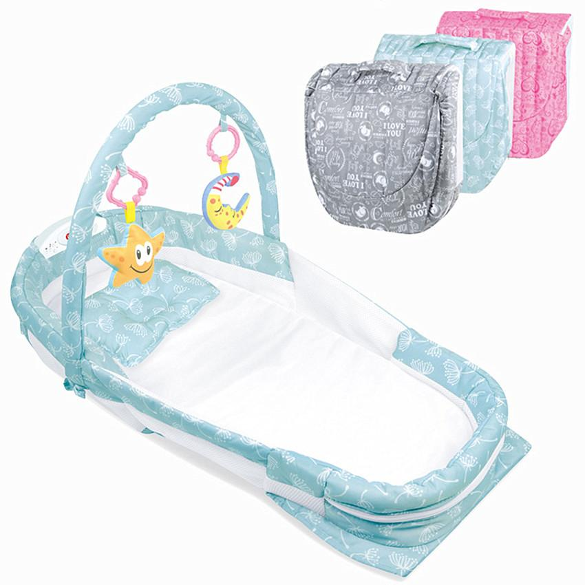 Baby Folding Bed Carry Cot Kids Cradle Night Lights And Music Crib Travel Bed For Children Infant Kids Cradle With Mosquito Net By Smilewill Store.