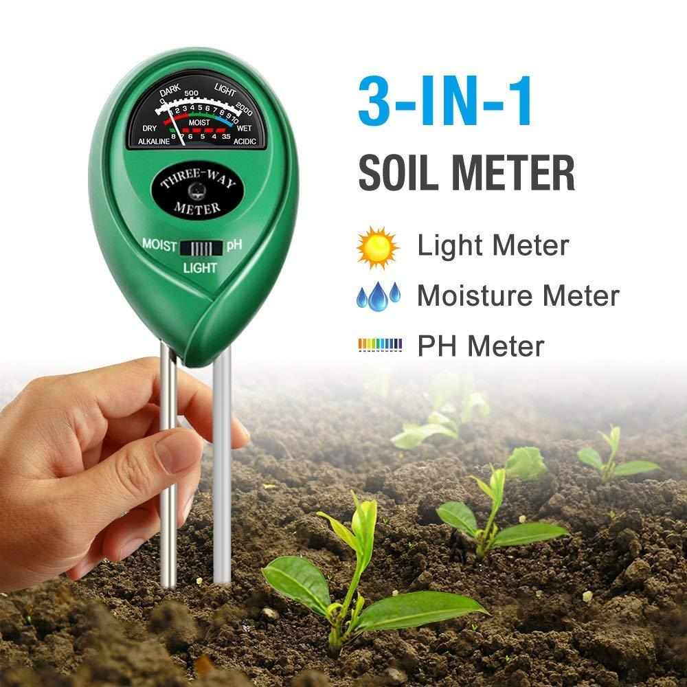 Soil pH Meter, 3-in-1 Soil Test Kit For Moisture, Light & pH, A Must Have For Home And Garden, Lawn, Farm, Plants, Herbs & Gardening Tools