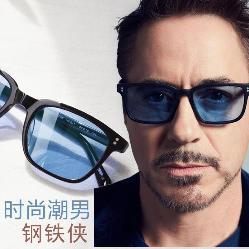 c25c79a802c9 Iron Man DOWNEY Celebrity Style Sun Glasses Male Sunglasses Panel Full Frame  Polarized Light Blue m