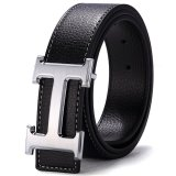 Review 120Cm 5Cm Fashion Style Men Cowskin Leather Belt Mbt16H 2 Black Silver Buckle China