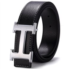 120Cm 5Cm Fashion Style Men Cowskin Leather Belt Mbt16H 2 Black Silver Buckle Oem Cheap On China