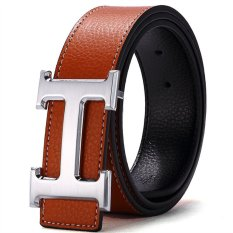 Buy 120Cm 5Cm Fashion Style Men Cowskin Leather Belt Mbt16H 6 Brown Silver Buckle Cheap On China