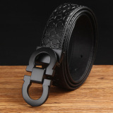 Price 120Cm 5Cm Men S Cow Leather Fashion Style Belt Mbt1638 1 Black Black Buckle Oem Online