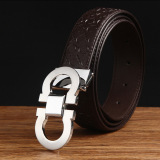 New 120Cm 5Cm Men S Cow Leather Fashion Style Belt Mbt1638 5 Coffee Silver Buckle