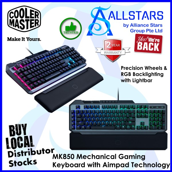 (ALLSTARS : We are Back Promo) CoolerMaster MK850 Mechanical Gaming Keyboard with Aimpad Technology / Precision Wheels & RGB Backlighting with Lightbar (MK-850-GKCR1-US) (Warranty 2years with Local Distributor BanLeong) Singapore