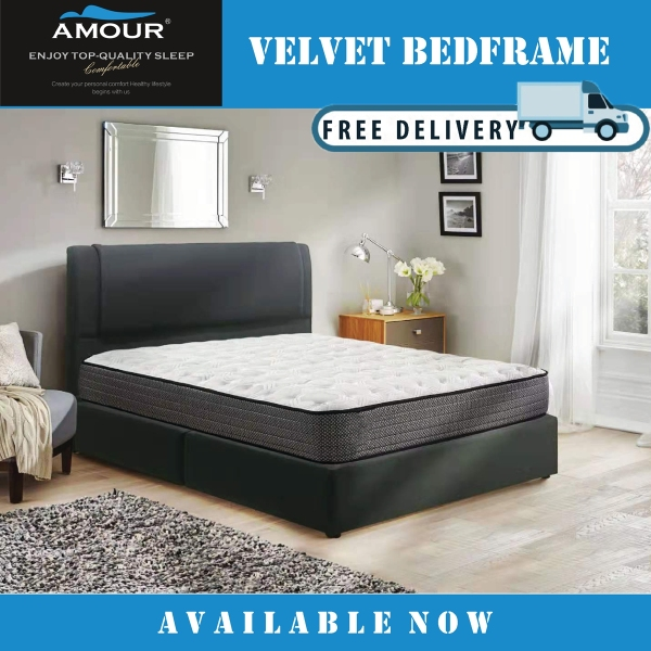 Amour Brand Dark Grey Queen Size / King Size Velvet Fabric Bed Frame Free Delivery 10 Years Warranty
