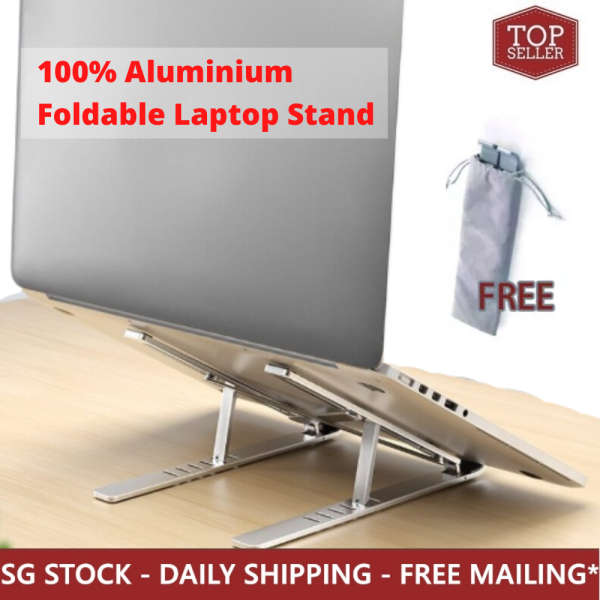 [TopSeller] Portable All-Aluminium Laptop Stand Foldable Adjustable Laptop Riser Tablet Computer Stand MacBook Pro 13/15/16 inch Compatible Ergonomic Eye Level Relieve Neck Back Pain Lightweight Anti Slip Air Cooling Desktop Holder WFH Work From Home Tool