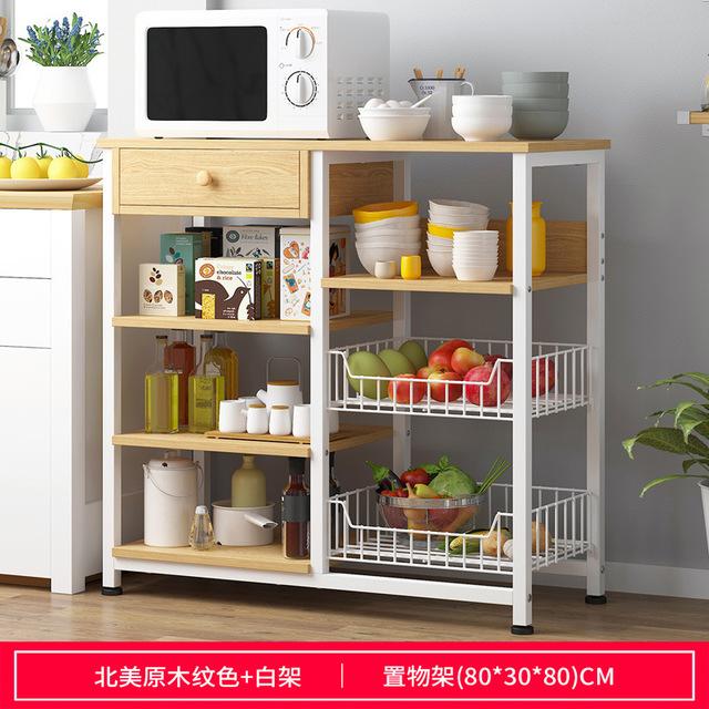 Kitchen Shelves Microwave Oven Shelf Floor-type Multilayer Storage Rack Kitchen Cupboard Steel Frame Storage Rack with Drawer