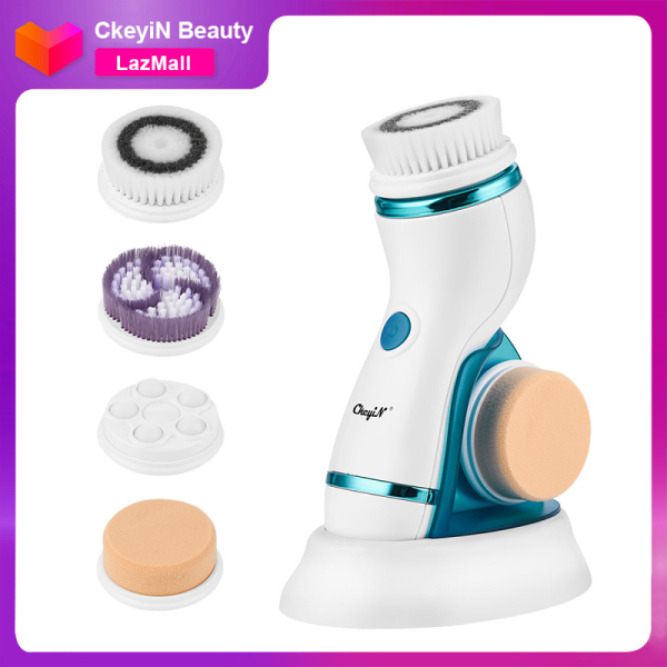 Buy CkeyiN 4 in 1 Electric Facial Cleansing Brush Waterproof Face Massage Brush with 4 Brush Heads for Deep Face Cleaning Makeup Remover Singapore