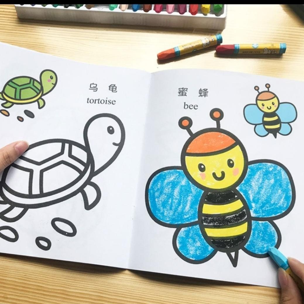 8 books  of bilingual colouring  books  + 18 crayons