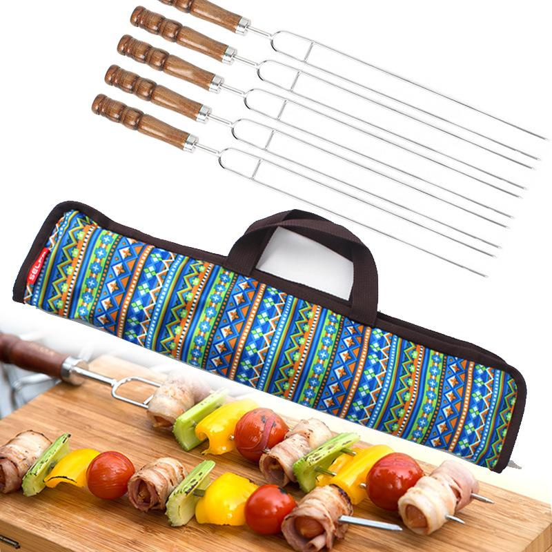 Outdoor BBQ Spit Stainless Steel Barbecue Skewer Wooden Handle U-Shaped Barbecue Drill Picnic Barbecue Fork 5 Thing Set