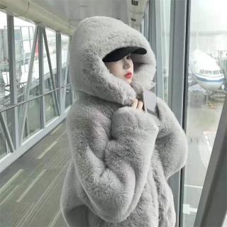 2020 Mùa Đông Phiên Bản Hàn Quốc Lông Thỏ Giả Áo Lông Áo Khoác Nữ Kiểu Lửng Dáng Suông Rộng Dày Hơn Vải Nhung Liền Mũ Lông Áo thumbnail