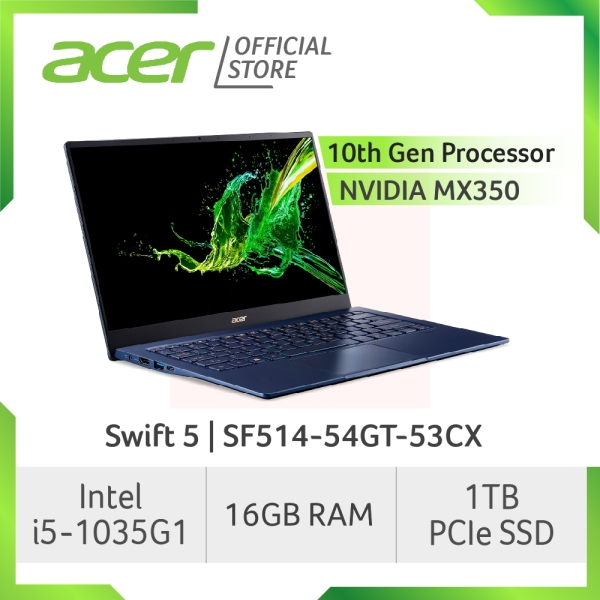 Acer Swift 5 SF514-54GT-53CX Thin and light Touch Screen laptop with LATEST 10 Gen Intel i5-1035G1 processor and 16GB RAM