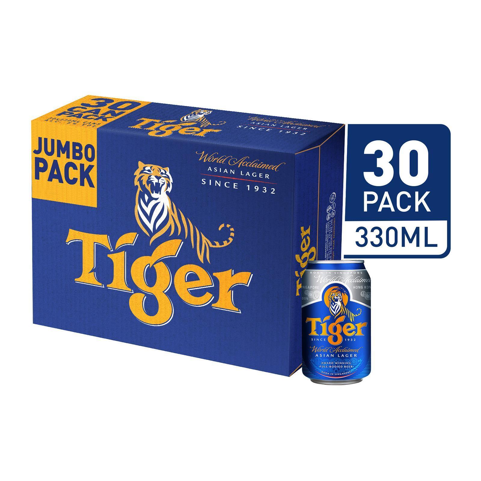 Tiger Lager Beer - 30 X 330ml Case By Redmart.