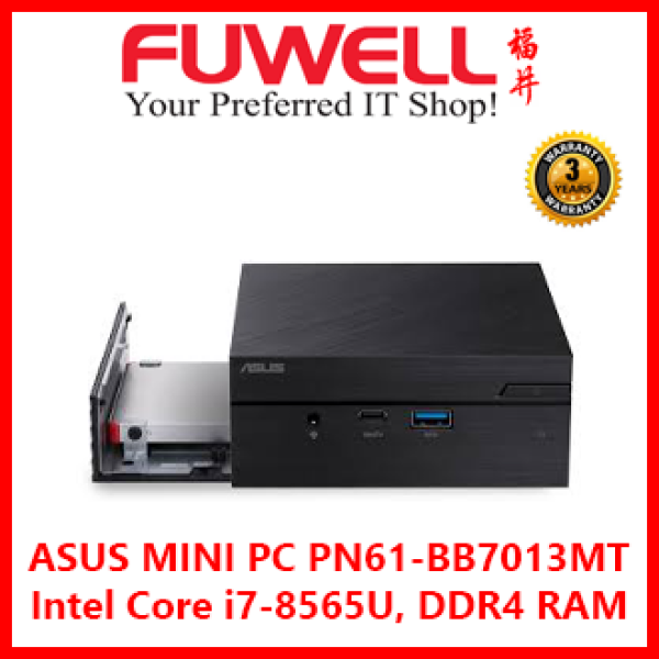 ASUS MINI PC PN61-BB7013MT / PN61 Intel Core i7-8565U, DDR4 RAM support, dual storage, 4K UHD video output, Windows 10, Wi-Fi, Thunderbolt 3 and USB 3.1 Gen2 Type-C (Barebones)