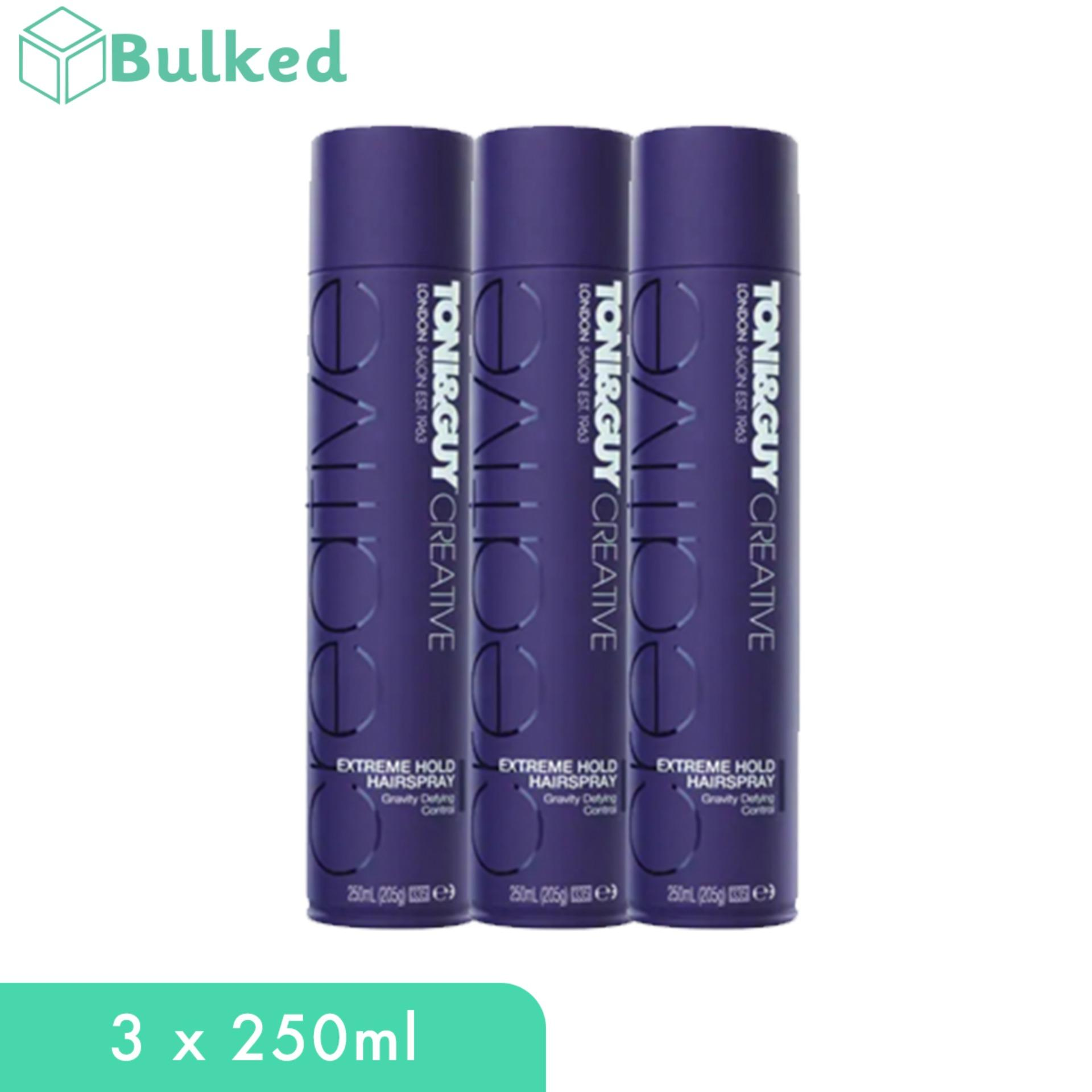 Toni & Guy Creative Extreme Hold Hair Spray (3 X 250ml) By Bulked.