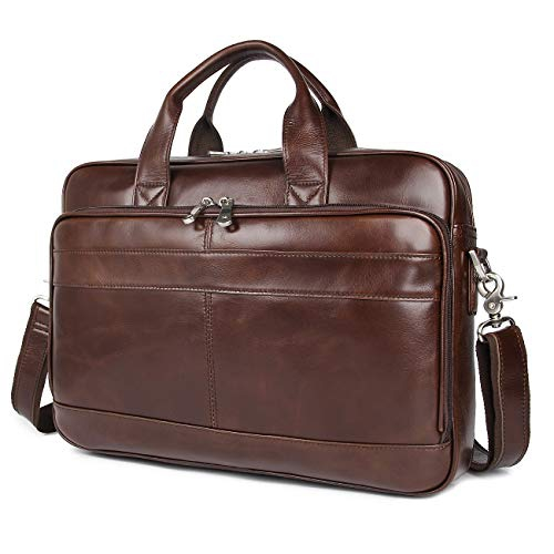 Augus Leather Messenger Bag for Men Vintage Travel Backpack 17 inch laptop Briefcase Shoulder Bags