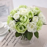 12Pcs 9 Silk Heads Quality Rose Bouquet Green Purple White For Wedding And Banquet Decoration Fabric Fake Artificial Flowers You Can Get Flower Baskets For Free For Sale Online