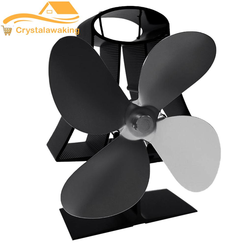 4 Blade Fireplace Fan Low Noise Hot Cooking Stove Thermal Power Heating Fan