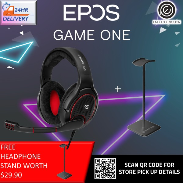 EPOS Sennheiser GAME ONE Gaming Headset, Open Acoustic, Noise-canceling mic, Flip-To-Mute, XXL plush velvet ear pads, compatible with PC, Mac, Xbox One, PS4, Nintendo Switch, and Smartphone - Black [FREE Headphone Stand + 24 Hours Delivery]