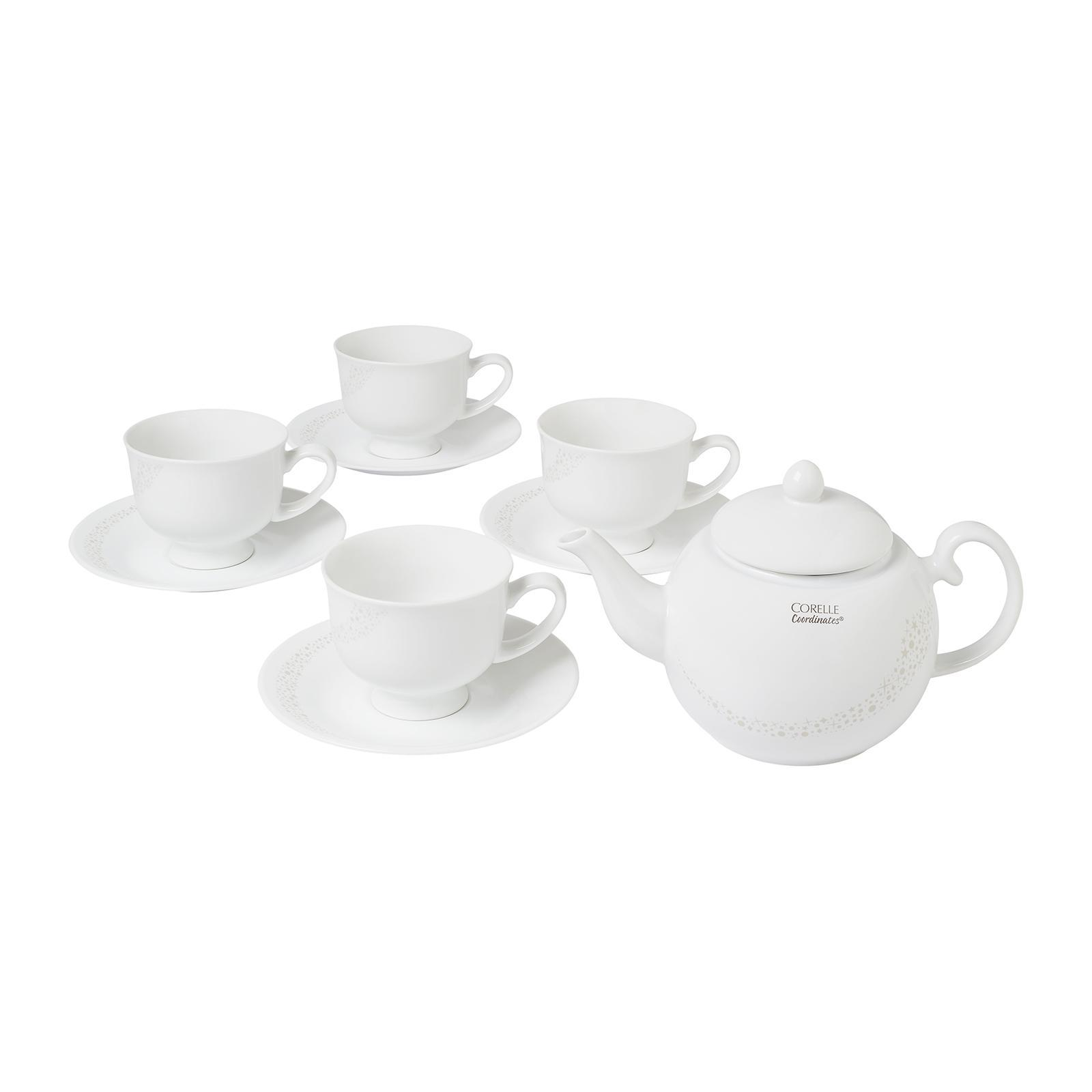 Corelle Coordinates 8 PCS Cup And Saucer Set with FREE 850 ML Teapot (Design: Moonlight)