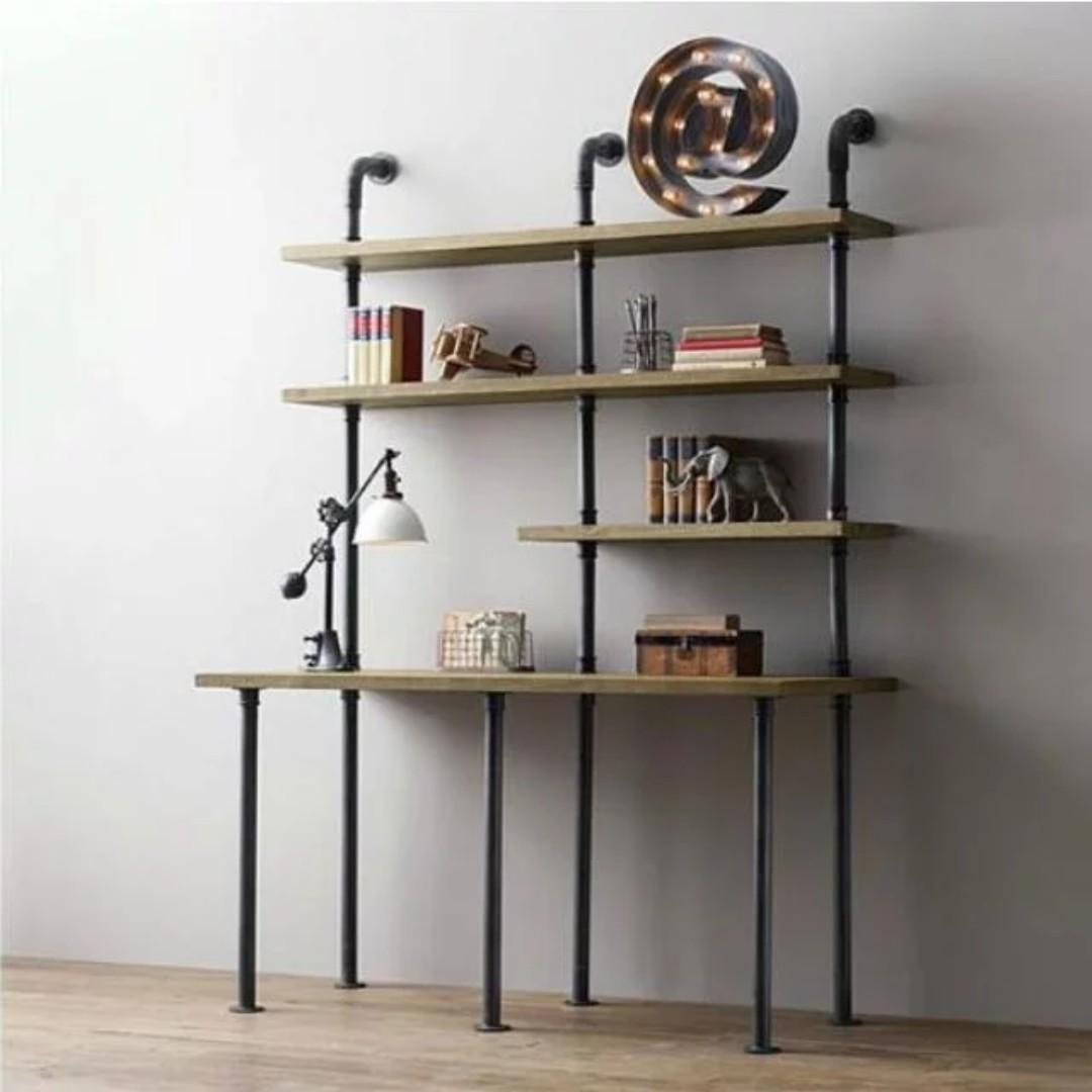 Pre order E102 Industrial Solid Wood Display shelves:  L120*W40*H200cm