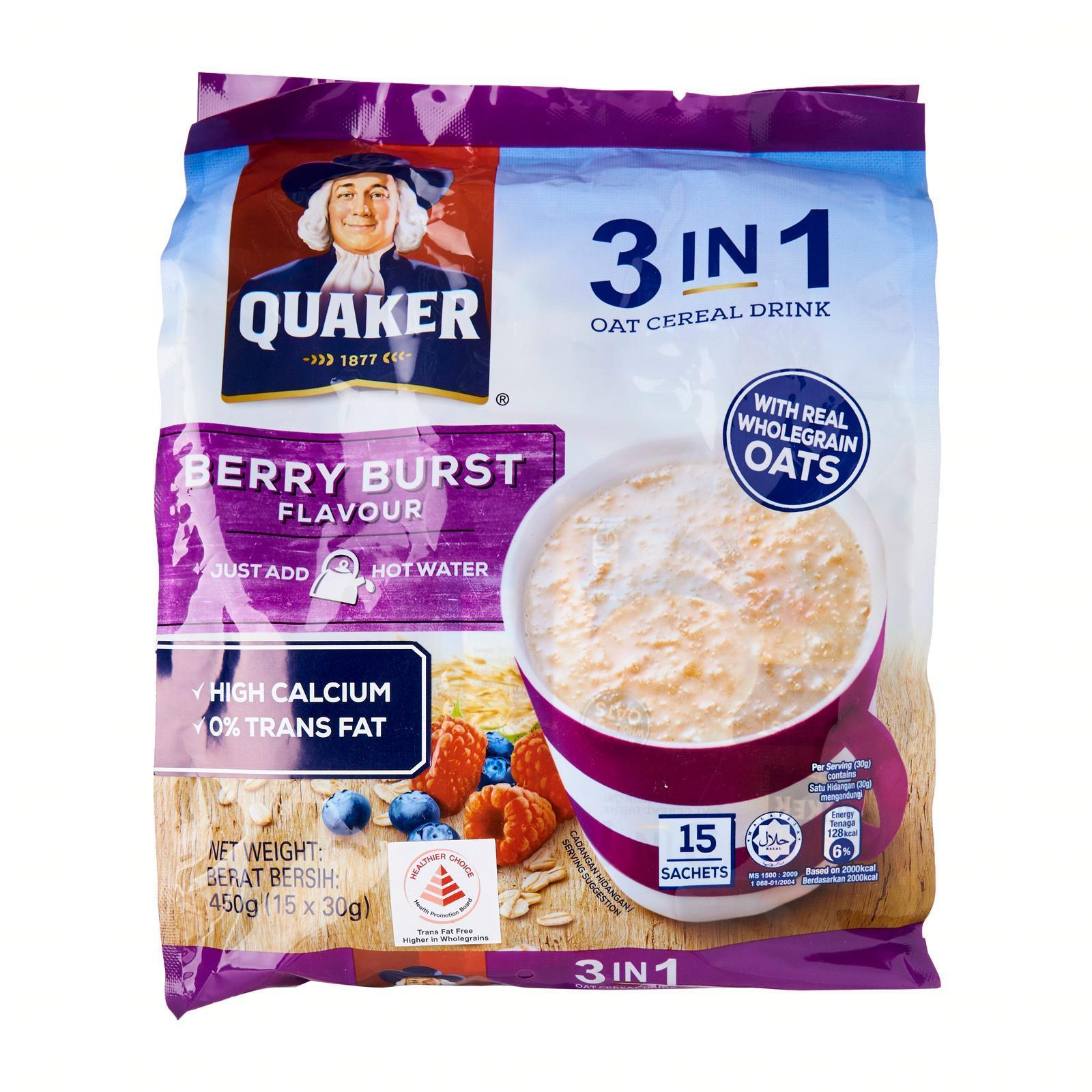 Quaker 3 -in - 1 Berry Burst Oat Instant Cereal Milk