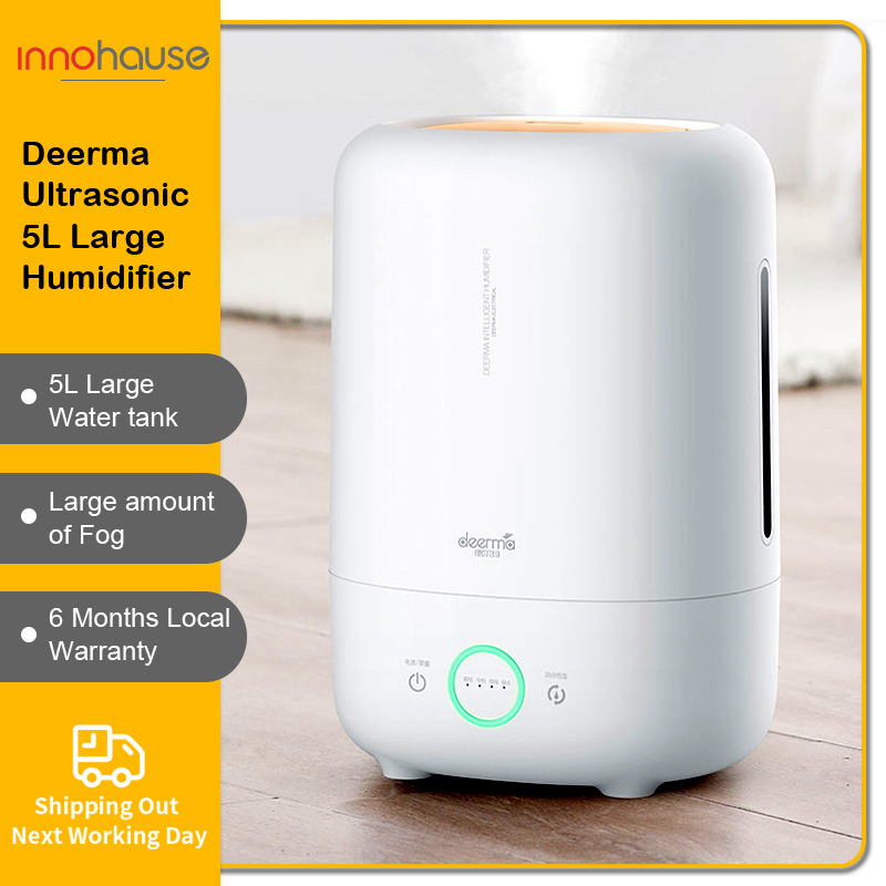 Deerma Ultrasonic 5L Humidifier Low Noise Ajustable Mist Volume Heavy Fog Local warranty Singapore