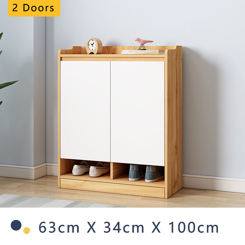 Shoe Cabinet Organizer Storage Rack Table Shelves Adjustable Height Angle Wooden 2 3 4 doors Huge Capacity Free Delivery [3 Weeks Delivery]