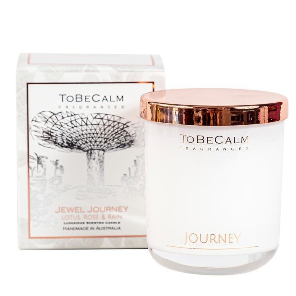 To Be Calm Jewel Journey - Lotus, Rose & Rain - Medium Soy Candle