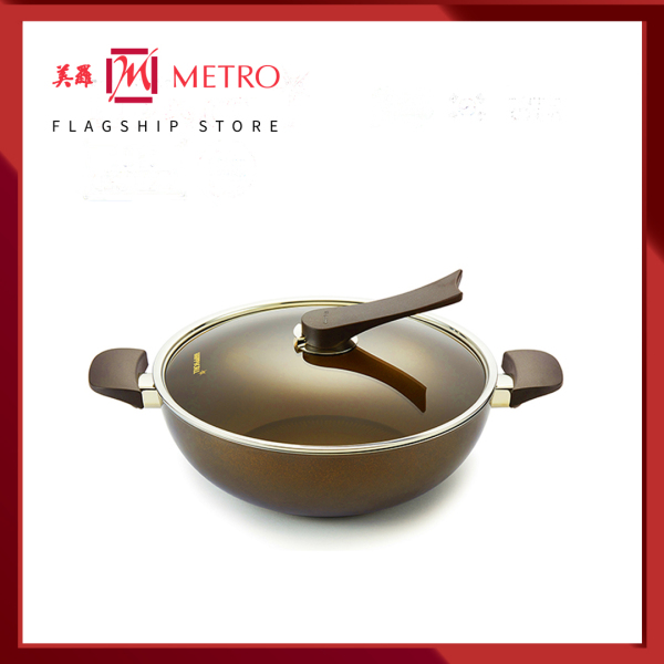 Happycall IH Gold 32cm Die Cast  Wok With Lid 3900-0192 Singapore