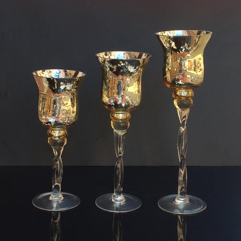 Blow Process gold glass candlestick celebration atmosphere high glass wax table crafts decorative ornaments-intl